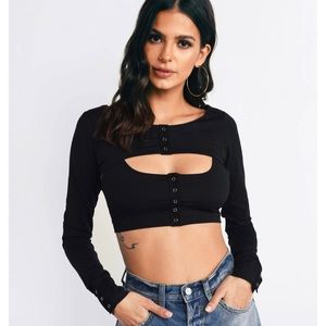 For love and lemons Avril snap layered top